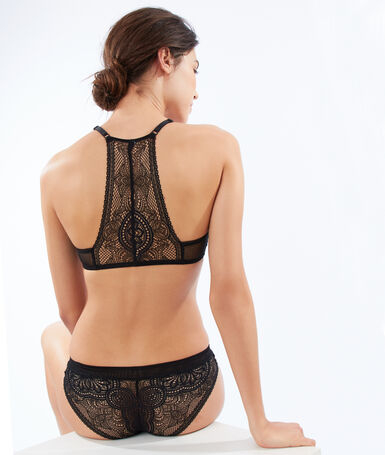 Ornate lace bra with racer back black.