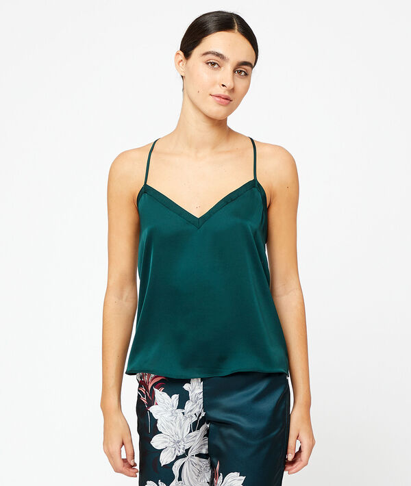Satin cami top with lace back;${refinementColor}