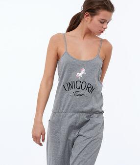 Unicorn print onesie gray.