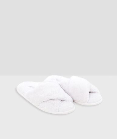 Open-toed faux-fur slippers gray.