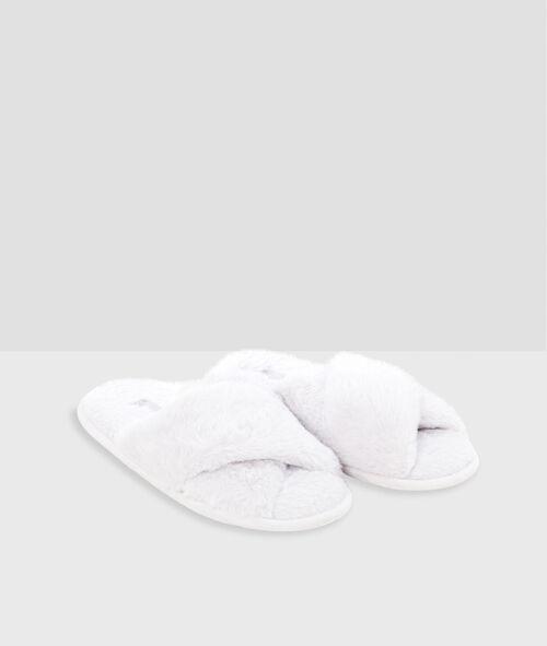 Open-toed faux-fur slippers