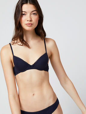 Cotton padded bra, light padding navy.