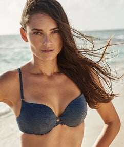 Swimwear push-up bra night blue/iridescent.