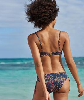 Knotted bikini bottoms imprime fond marine.