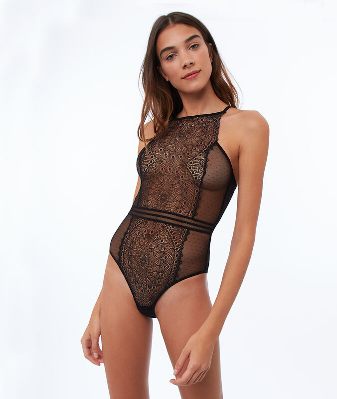 Rose lace bodysuit black.
