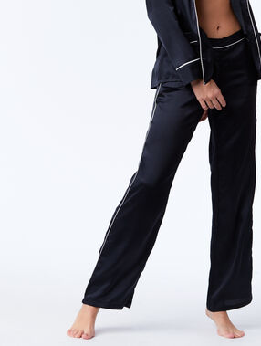 Satin pyjama trousers black.