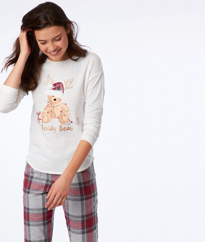 Slogan t-shirt with faux fur detail ecru.