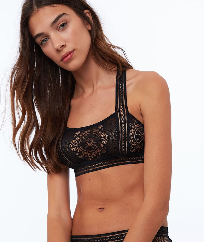 Lace and fishnet bralette black.
