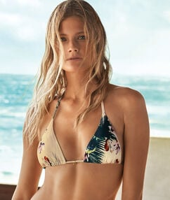 Tropical floral print triangle bikini top multi-color.