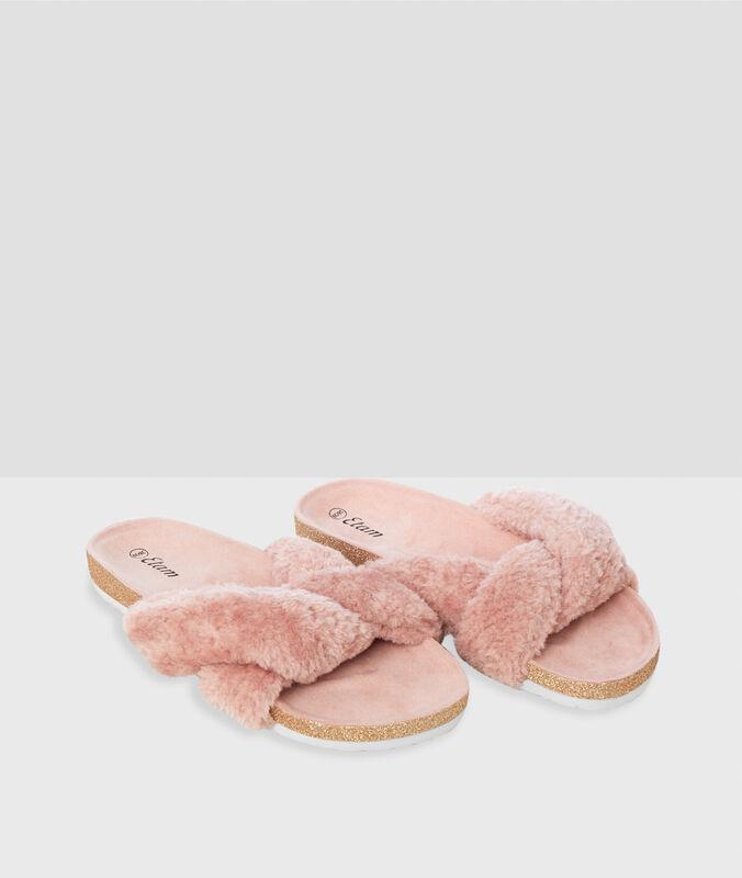 Pantofole aperte rosa.
