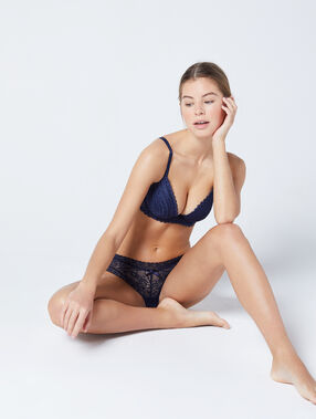 Bra no. 2 - lace plunging push-up bra navy.