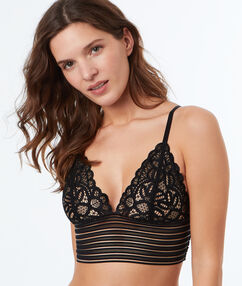 Non-wired lace triangle bra with deep elasticated underband black.