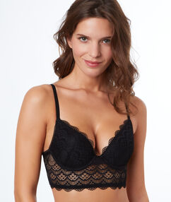 Lace push-up bra with basque black.