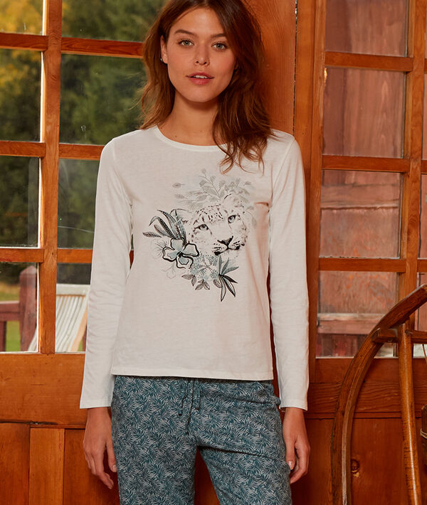 Cotton T-shirt in tiger print