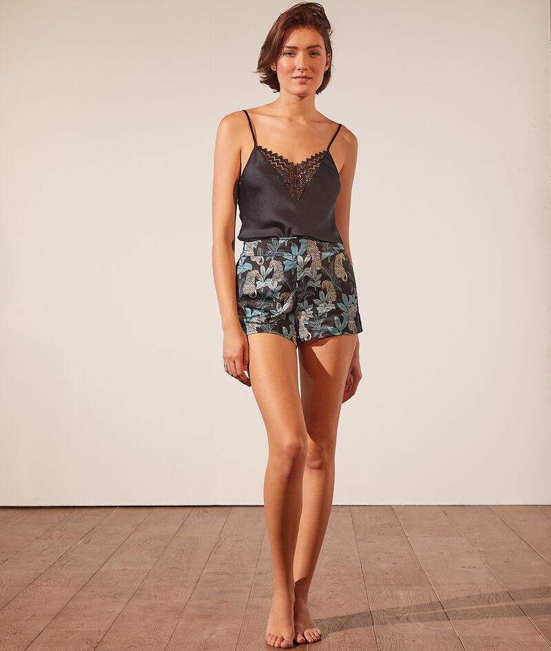 Printed satiny pyjama shorts;${refinementColor}