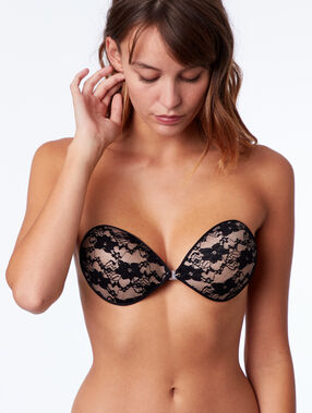 Lace stick on bra black.