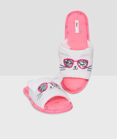 Cat slippers white.
