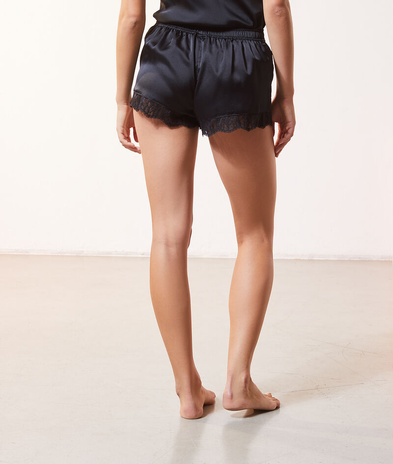 Satin shorts with lace details;${refinementColor}