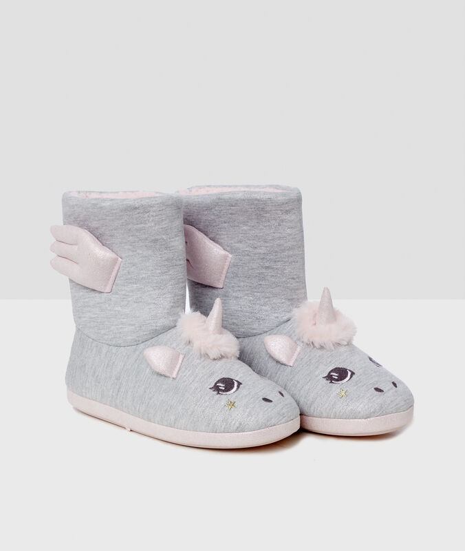 Lined boot slippers gray.