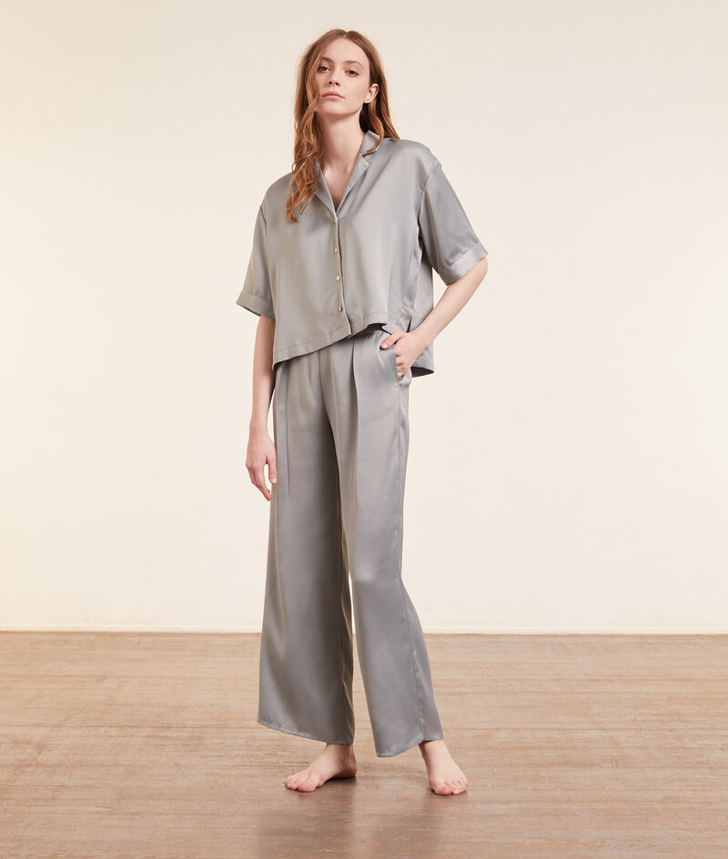 Satin pyjama bottoms;${refinementColor}
