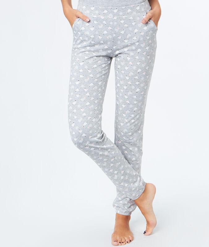 Sheep print trousers gray.