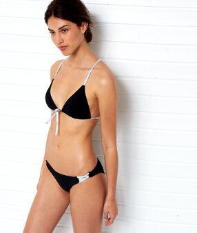 Triangle bikini top with silver ties black.