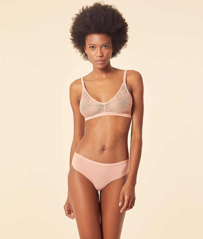 Reversible lace and stretch microfiber bralet;${refinementColor}