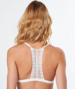 Lace, racer back, non-wired triangle bra ecru.
