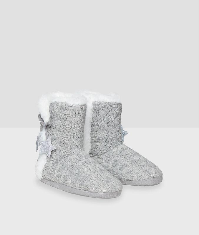 Stars boot slippers grey.