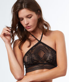 Bare-backed lace bra black.