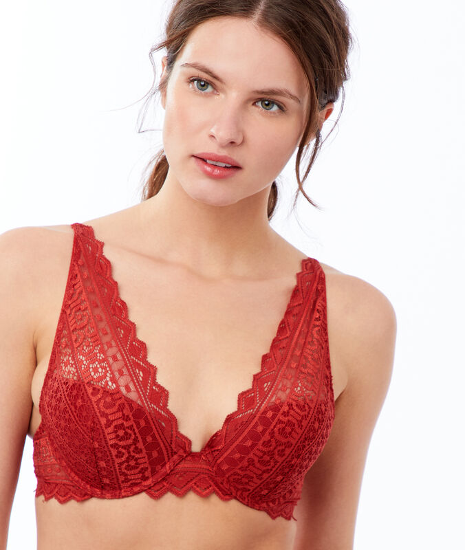 Bra no. 3 - lace triangle push-up bra red brick.