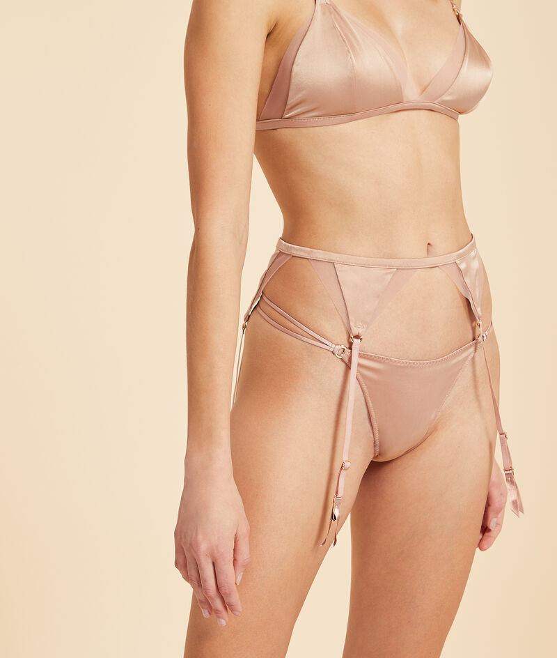Silk suspenders with tulle details;${refinementColor}