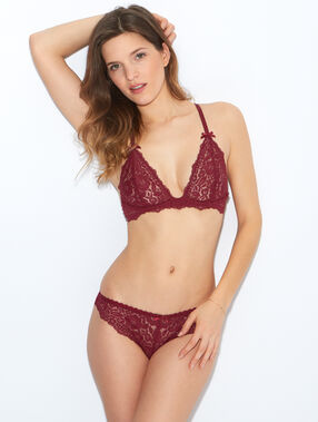 Lace triangle bra burgundy.