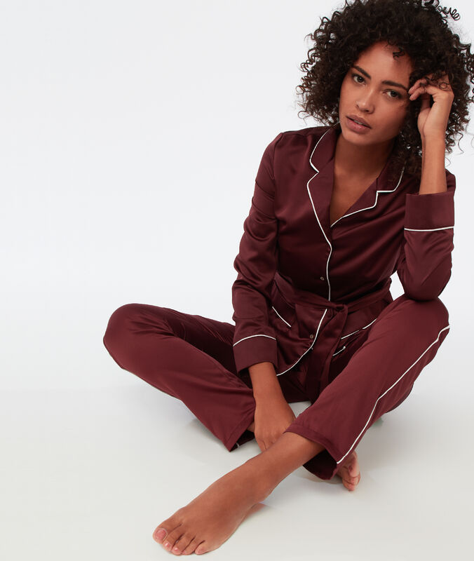 Contrasting band trousers burgundy.
