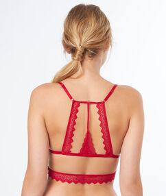 Lace triangle bra, racer back red.
