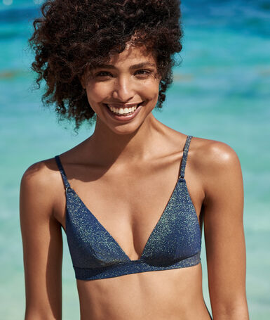 Triangle bra night blue/iridescent.