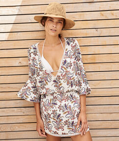 Beach tunic off-white print.