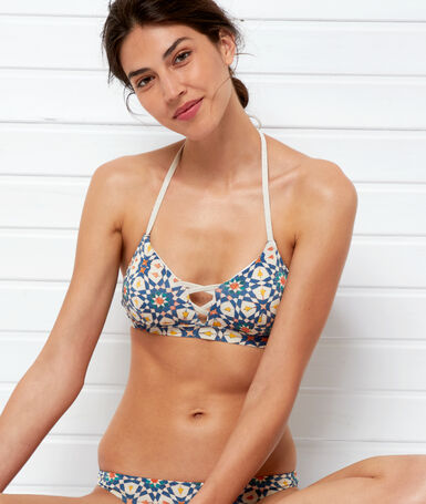 Triangle bikini top white background print.