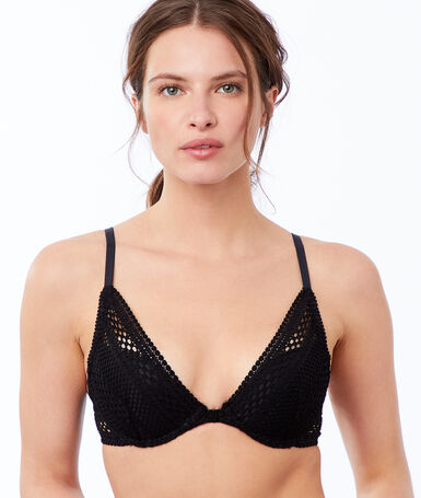 Bra no. 3 - triangle fishnet push-up, shiny bands black.