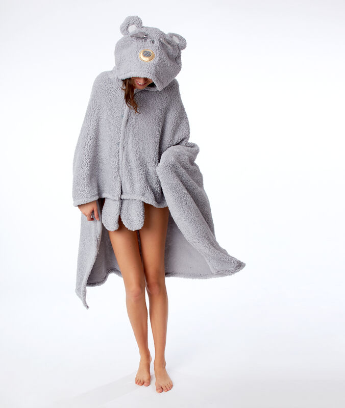 Bear poncho with hood grey.