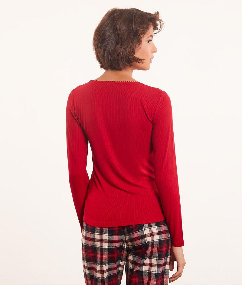 Long-sleeved V-neck top ;${refinementColor}