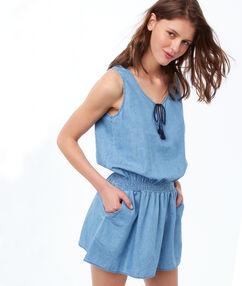 Chemise de nuit ajustée bleu.
