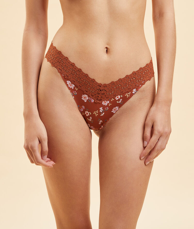 Microfiber and lace printed tanga;${refinementColor}