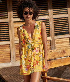 V neck beach dress yellow.