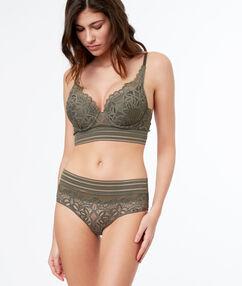 Lace shortys, elastic straps khaki.