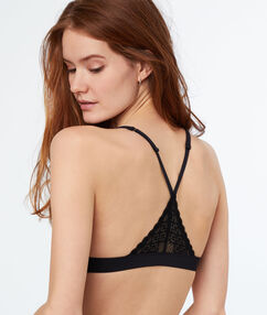 Lace triangle bra, racer back black.