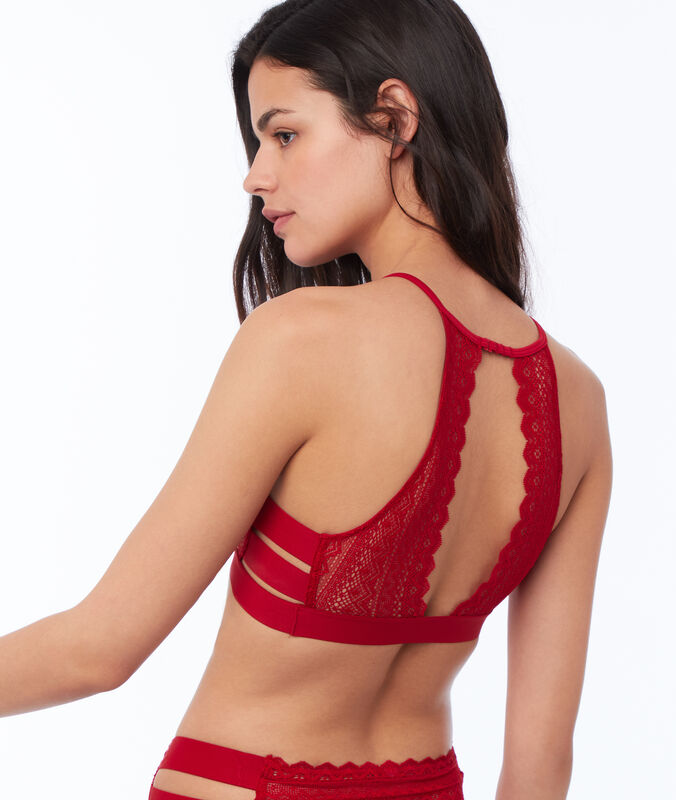 Lace bra, 3 bands red.