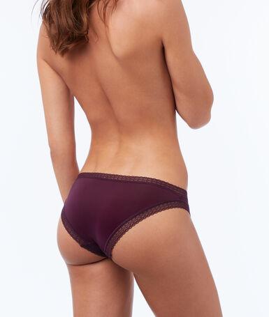 Bi-material briefs violet.