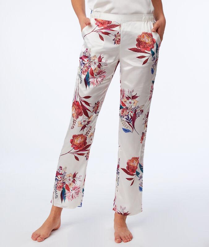 Pantalon à imprimé floral ecru.