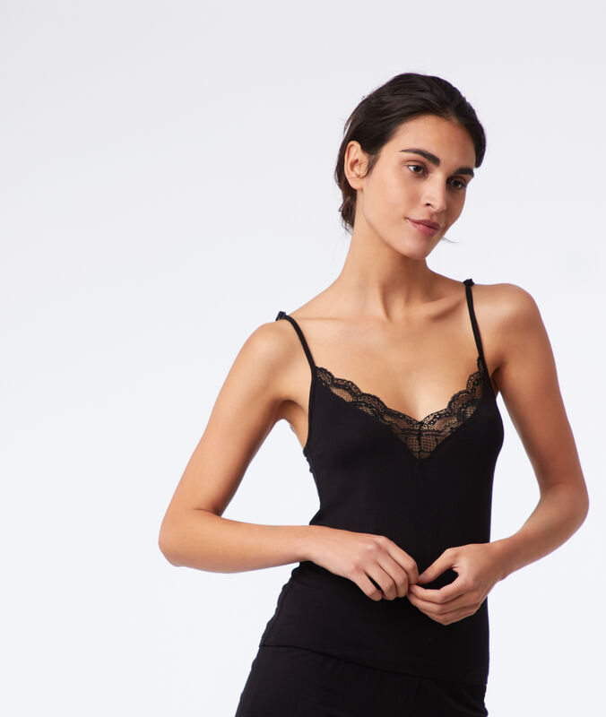 Lace neckline top black.